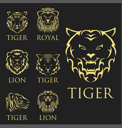 tiger head royal badge with beautiful animal vector image