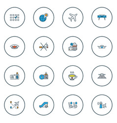 travel icons colored line set with tax free vector image