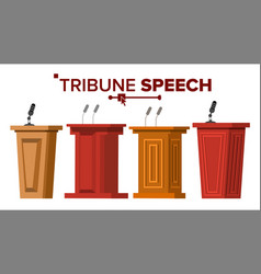 tribune set podium rostrum stand with vector image
