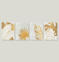 tropical golden leaves set for social media vector image