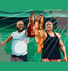 Two cartoon men holding meat products in their vector