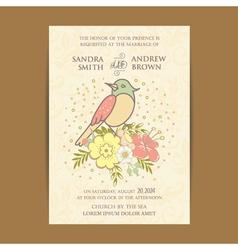 Vintage invitation card with bird vector image