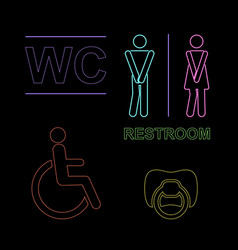 wc neon set with malefimal vector image
