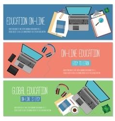 Web banner concept for online education vector image
