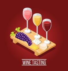 Wine tasting isometric background vector