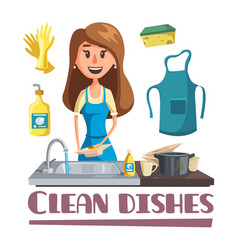 Woman washing dishes hand in sink poster vector