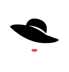 woman with red lips and fashion hat logo design vector image