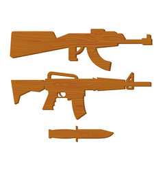 wooden gun kids set board weapons and knife vector image