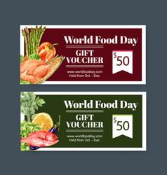 World food day voucher design with chicken vector