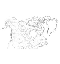 World map canada and north america region vector