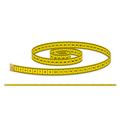 Yellow realistic measuring tape strap for vector