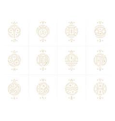 Zodiac astrology horoscope glyphs linear design vector
