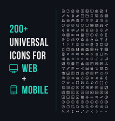 200 universal icons vector image vector image