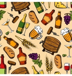 Alcohol drinks with snacks seamless pattern vector image vector image
