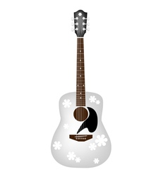 Beautiful Flowers Pattern on White Acoustic Guitar vector image vector image