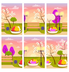 empty park with flowers at sunset vector image