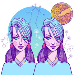 girl symbolizes the zodiac sign gemini pastel vector image vector image