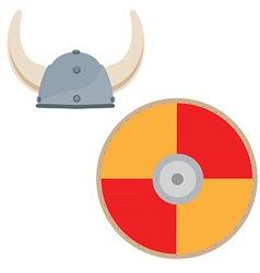 Viking hat and shield vector image