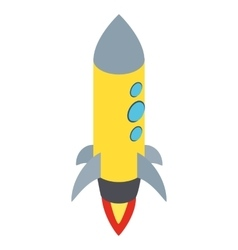 Yellow rocket with three portholes icon vector image vector image