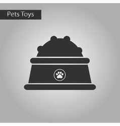 black and white style icon dog food bowl vector image vector image