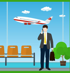 man with a briefcase at the airport vector image vector image