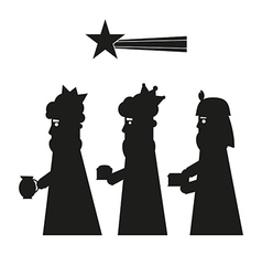 Three kings or three wise men silhouette vector image vector image