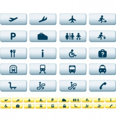 travel icons long buttons vector image vector image