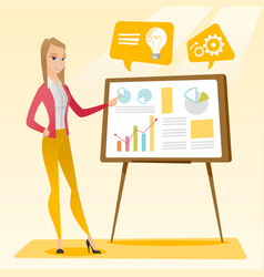 business woman giving business presentation vector image