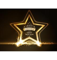 Golden star frame Merry Christmas vector image vector image