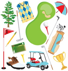 golf icons and elements vector image