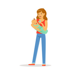 happy mother and her adorable baby playing with vector image vector image