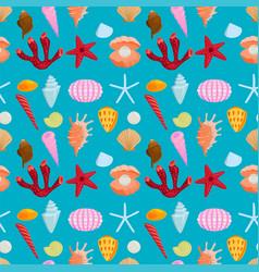 sea shells marine cartoon clam-shell seamless vector image