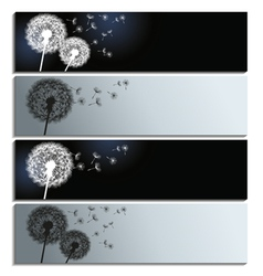 Set of banners with black and white dandelion vector image vector image