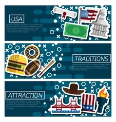 Set of Horizontal Banners about USA vector image vector image