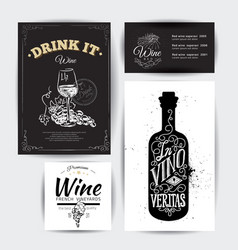 set of vintage wine typographic quotes vector image vector image