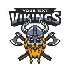 Viking warrior skull label emblem vector image