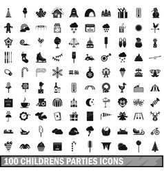 100 childrens parties icons set simple style vector image vector image