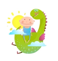 Baby and dragon cloud sun flying happy friends vector image vector image