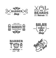 barber shop emblems set vector image