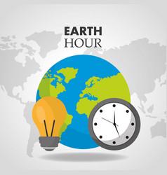 Earth hour world clock bulb map background vector
