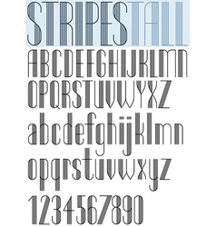 Elegant Tall Striped retro style artistic font vector image vector image