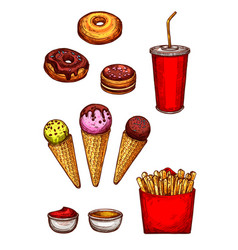 Fast food lunch sketch with fries soda dessert vector