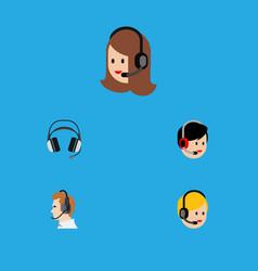 flat icon telemarketing set of telemarketing vector image vector image
