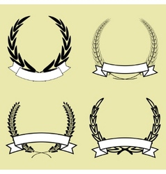 laurel wreath with ribbon vector image vector image