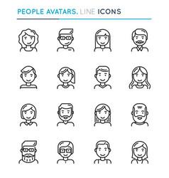 people avatars thin line icon set editable stroke vector image vector image