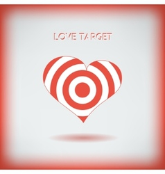 Red heart target icon Love aim concept vector image vector image