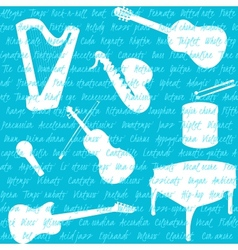 Seamless pattern with musical instruments and text vector image