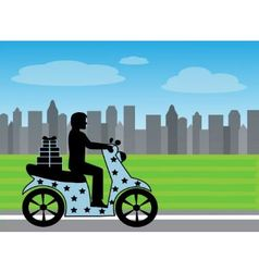 silhouette of a man on a motorcycle rides on the r vector image