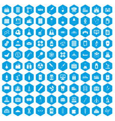 100 chemical industry icons set blue vector