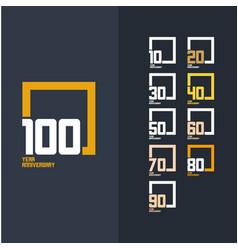 100 year anniversary set template design year vector